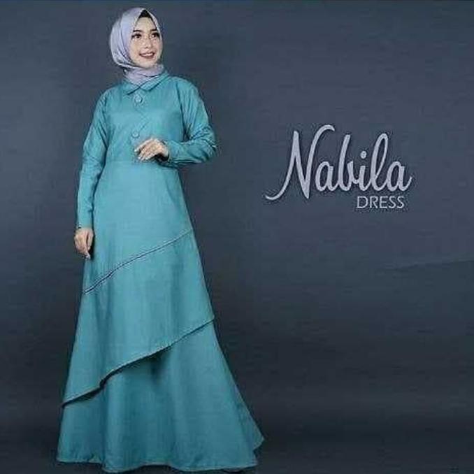 Diskon 45% Baju Atasan Muslim Murah /Gamis Murah Nabila Dres   Baju Lebaran Muslim Wanita Anak Pria