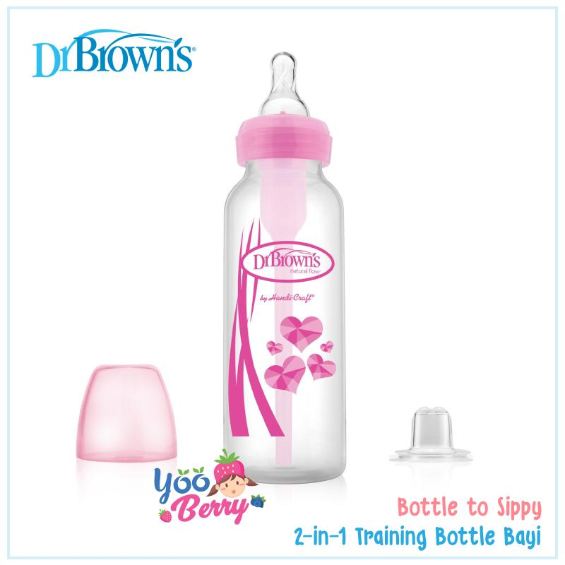 Dr Brown's 2-in-1 Transition Bottle Kit Narrow Neck / Paket Botol & Trainer Sippy Cup Bayi 250ml YooBerry