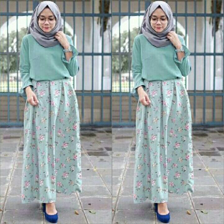 Liliana Baju Setelan Kulot Bunga Bunga Terbaru Bisa Untuk Hijab dan Non Hijab