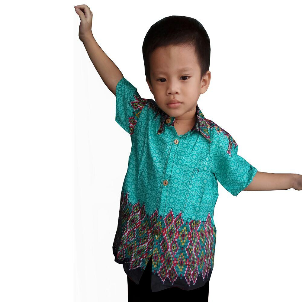 Glow fashion Atasan kemeja batik anak pria jumbo short shirt Ricky