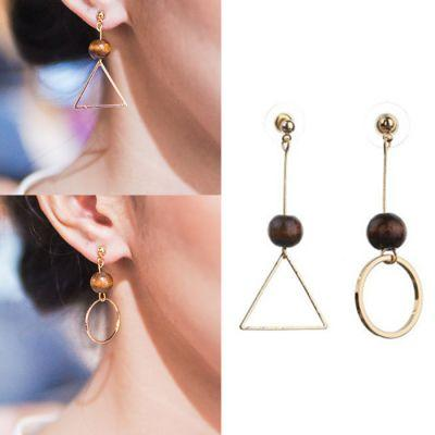 031FD6rNew Cross Border Earrings Triangle Round Asymmetrical Gold