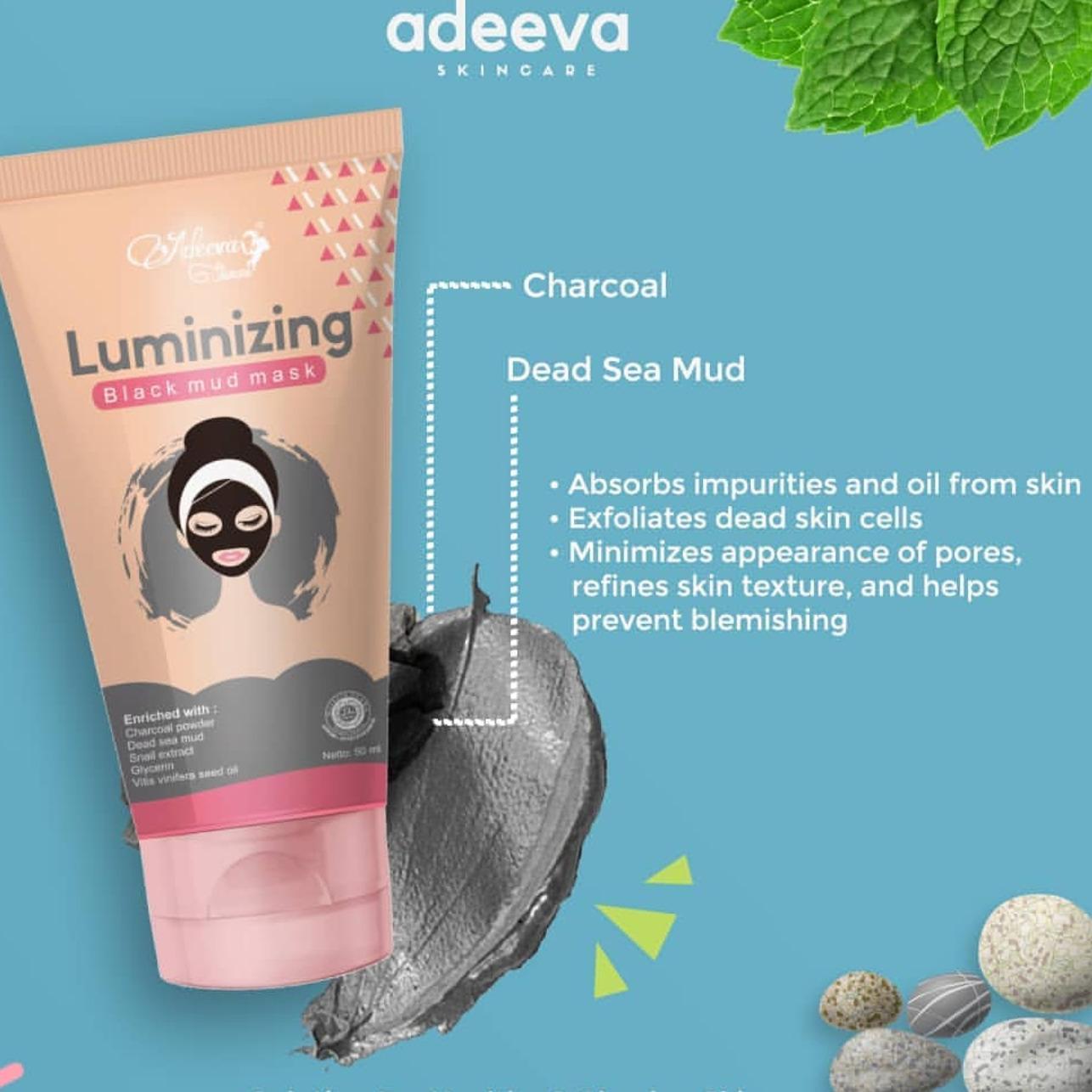 Adeeva Skincare Luminizing Black Mud Mask Masker Hitam (1 Pcs)