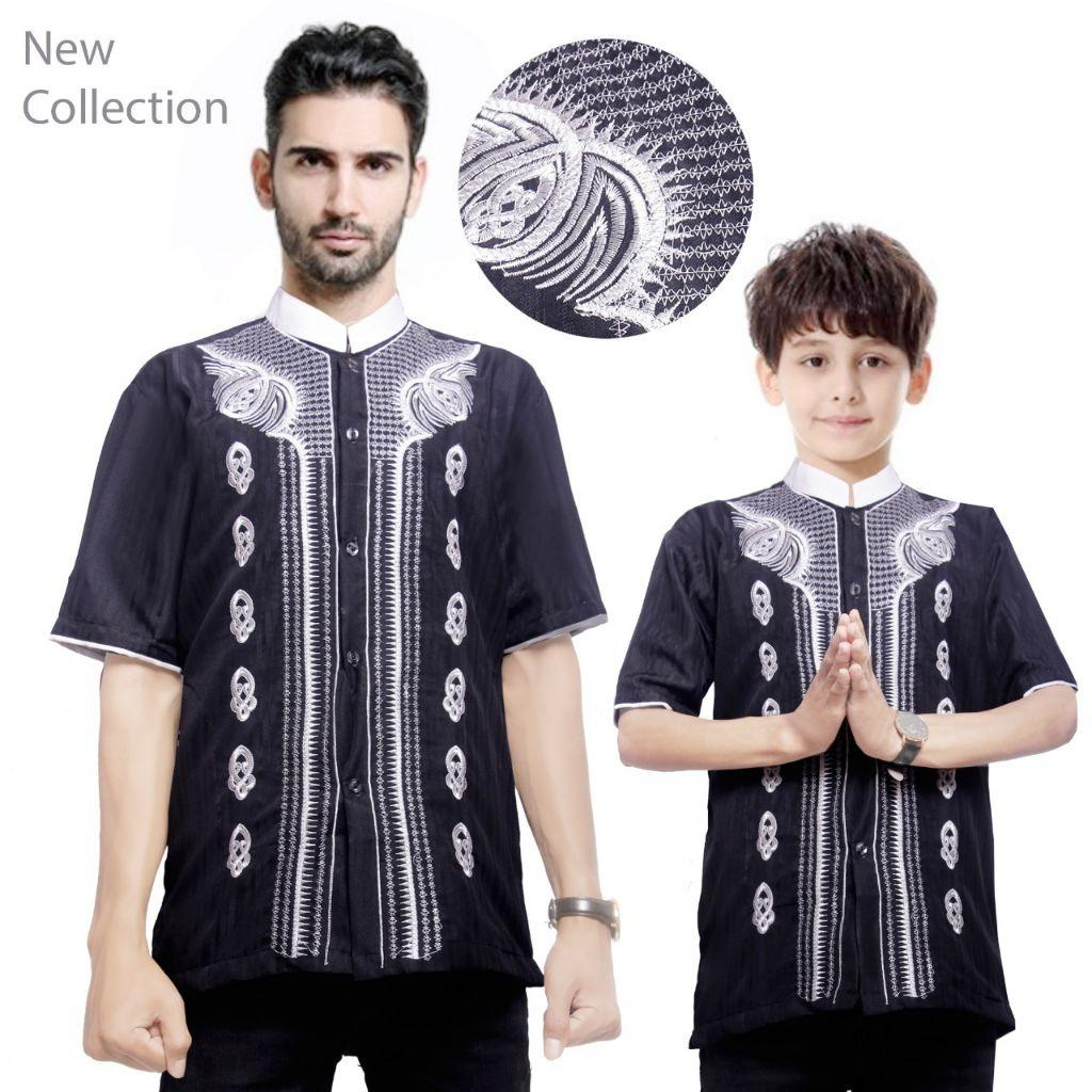 168 Collection Baju Koko Fendi Kemeja Muslim Lengan Pendek ayah dan anak