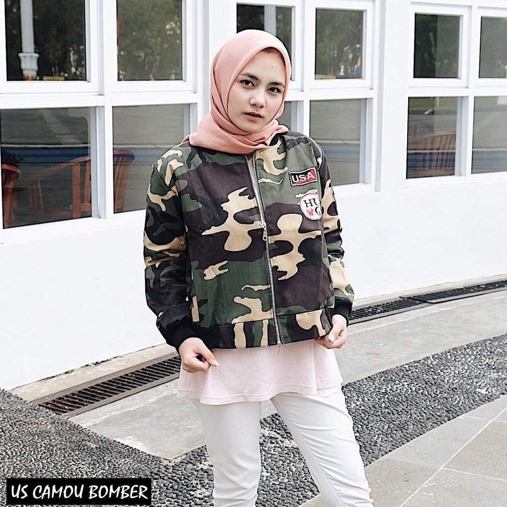 US CAMOU BOMBER ||| nouska shop ||| Grosir Jaket Sweater Baju Atasan Blouse Hijab Terbaru Kekinian Cewek Wanita Murah