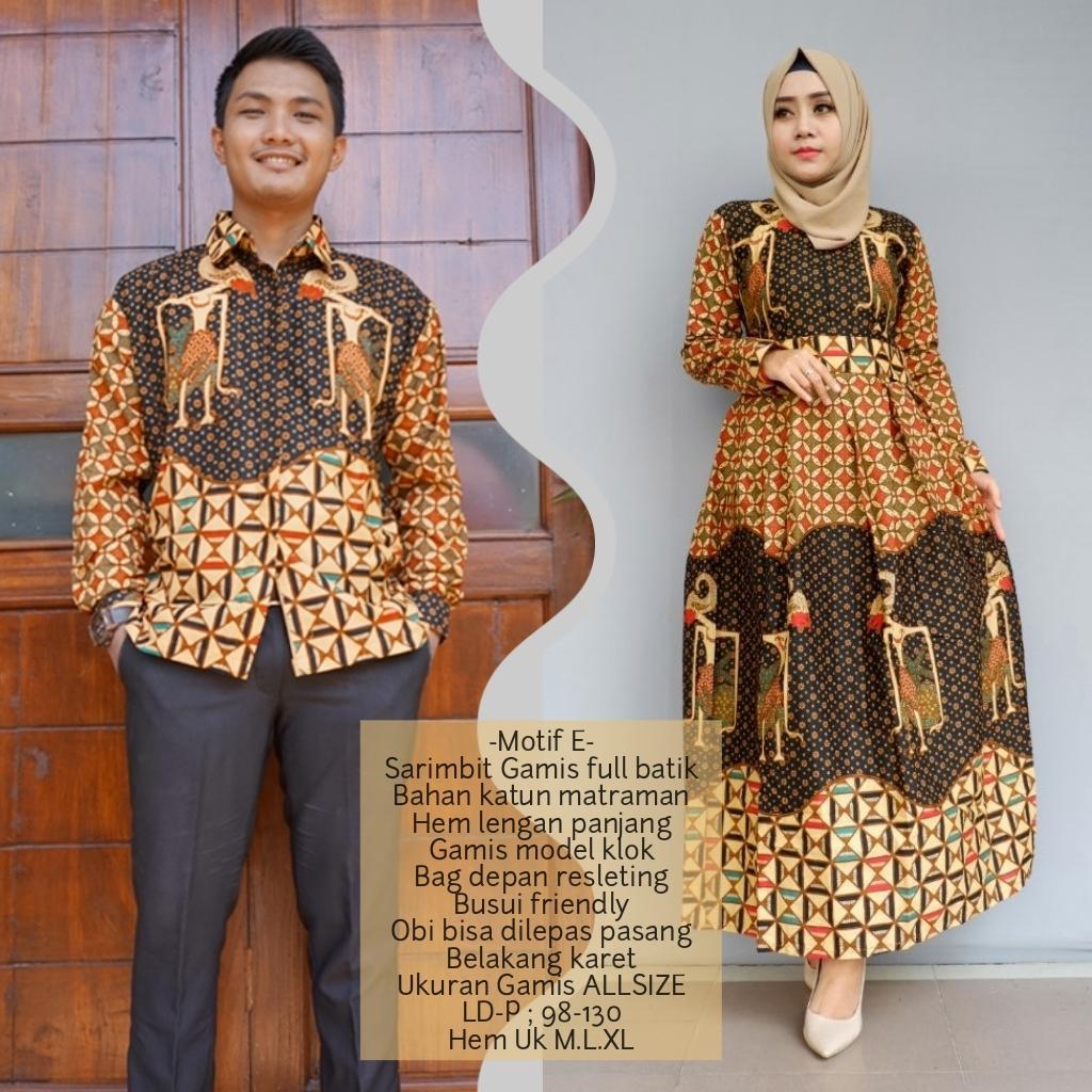 promo setelan keluarga baju sarimbit gamis batik keluarga terbaru bahan katun BSG623E