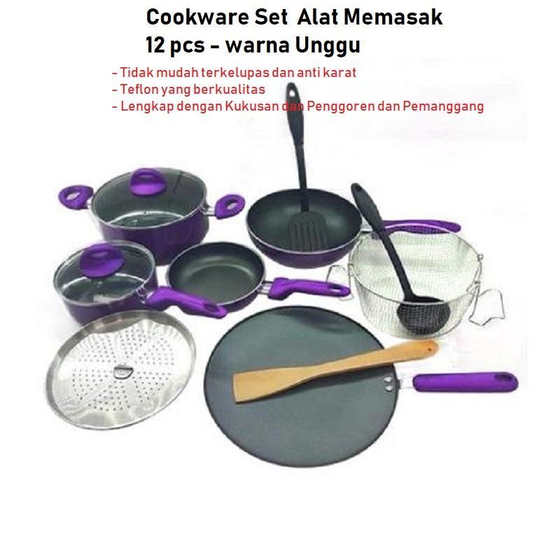 Panci Set Supra 12 Pcs - Supra Rosemary Premium Cookware (ada 2 pilihan warna : Merah dan unggu)