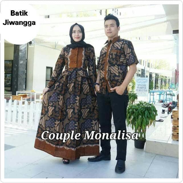 Baju Batik Couple Sarimbit Gamis Monalisa Hitam, Bahan Katun, Busui