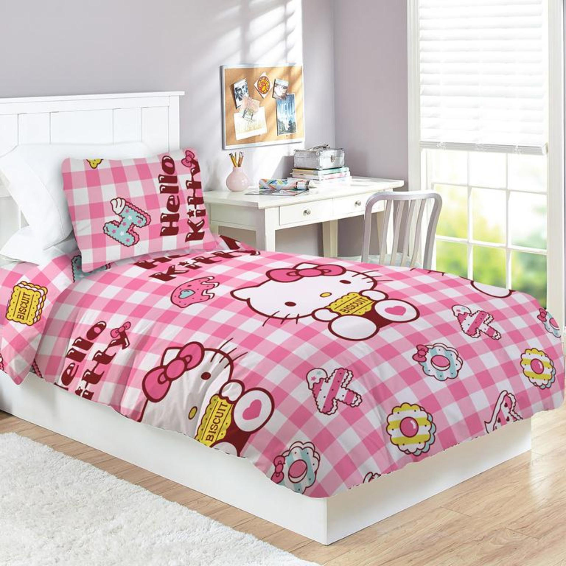 Selimut Valda Rotary Sutra Panel 150x200 Hello Kitty Biscuit