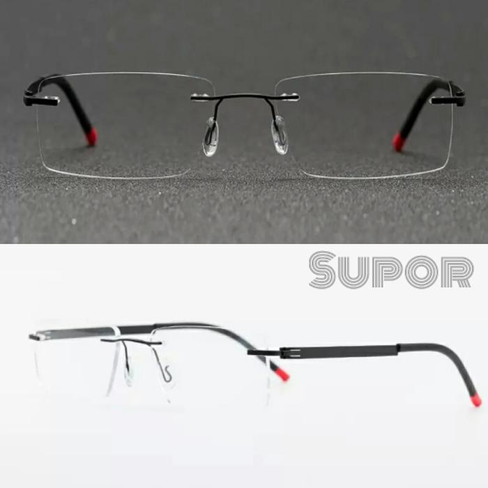 Frame kacamata FL2 Frameless + Lensa Essilor Airwear anti pecah
