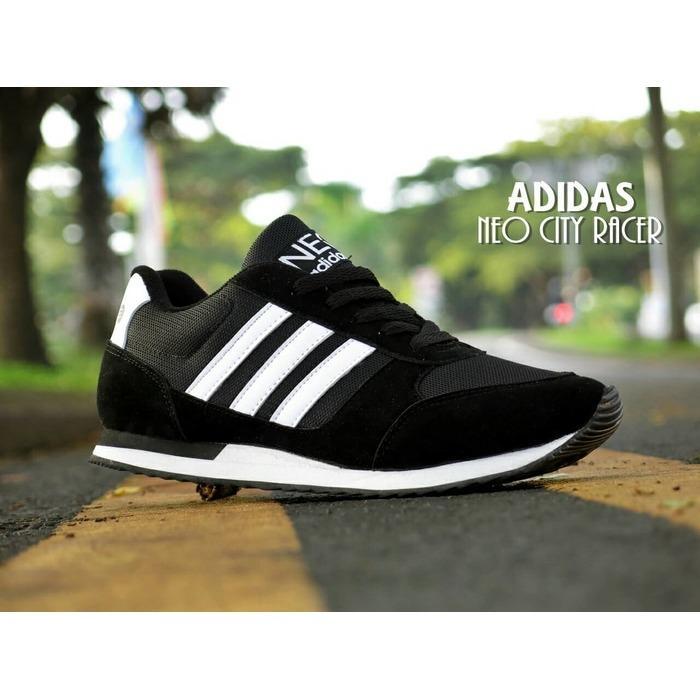 Sepatu Sport Adidas Neo City Racer Hitam Putih / Kets Casual