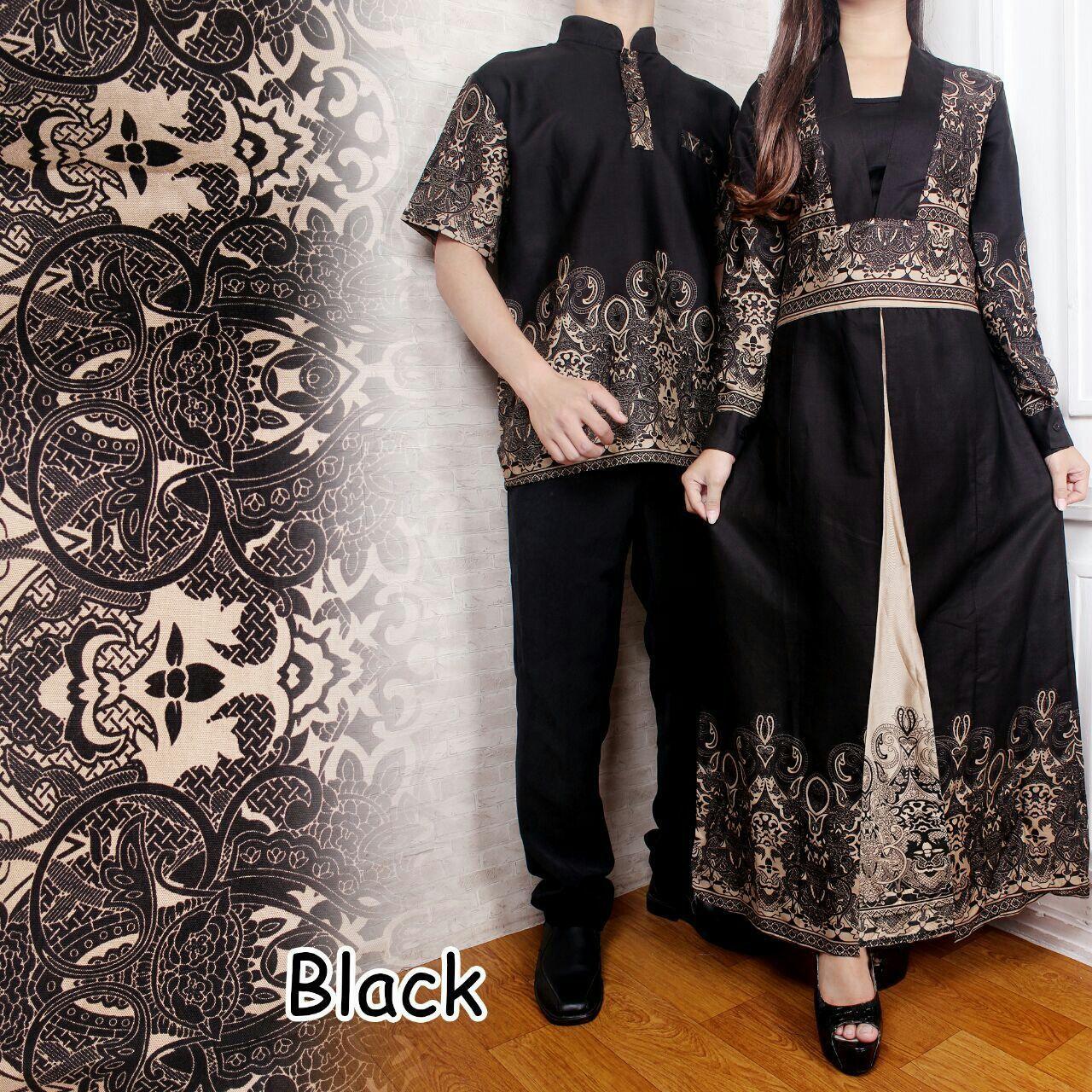 Baju Pasangan / Couple Gamis Ananda Hitam Plus Kemeja Pria