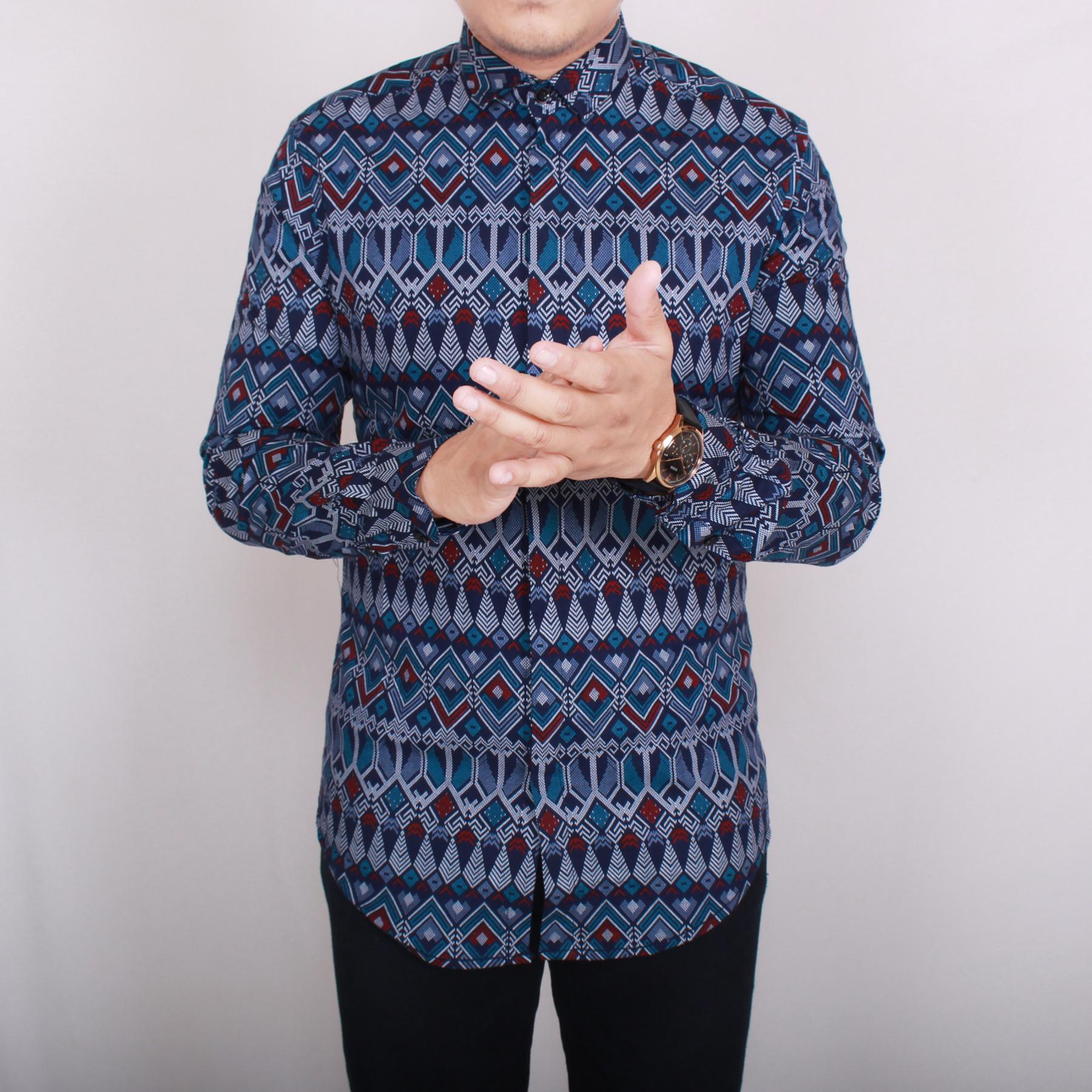 Girino.inc 6204 Kemeja Batik Pria Lengan Panjang Exclusive Kemeja Batik Songket Cowok Kemeja Batik Formal