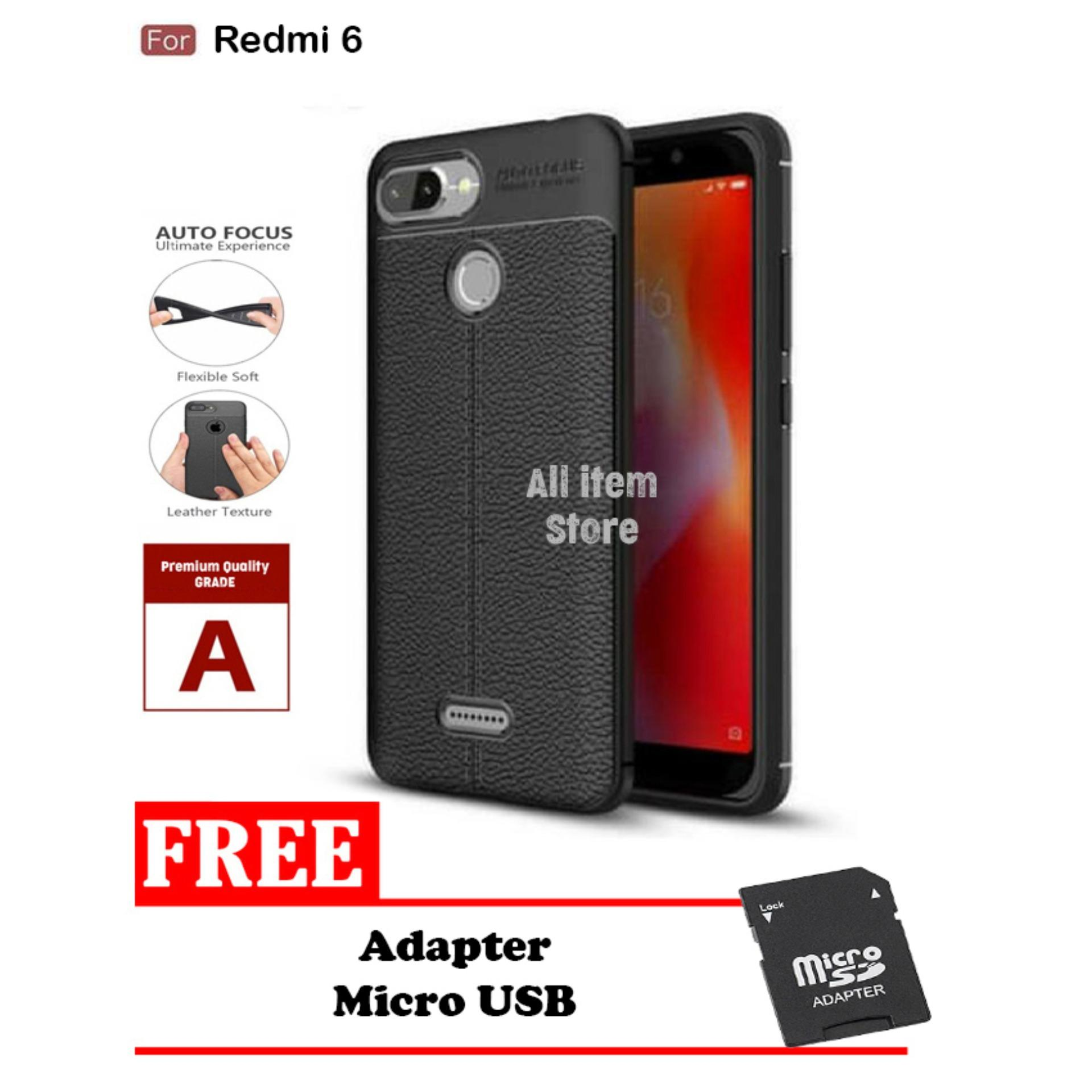 Case Auto Focus Xiaomi Redmi 6 Leather Black Matte Autofocus - Hitam  + Free Adapter Micro SD