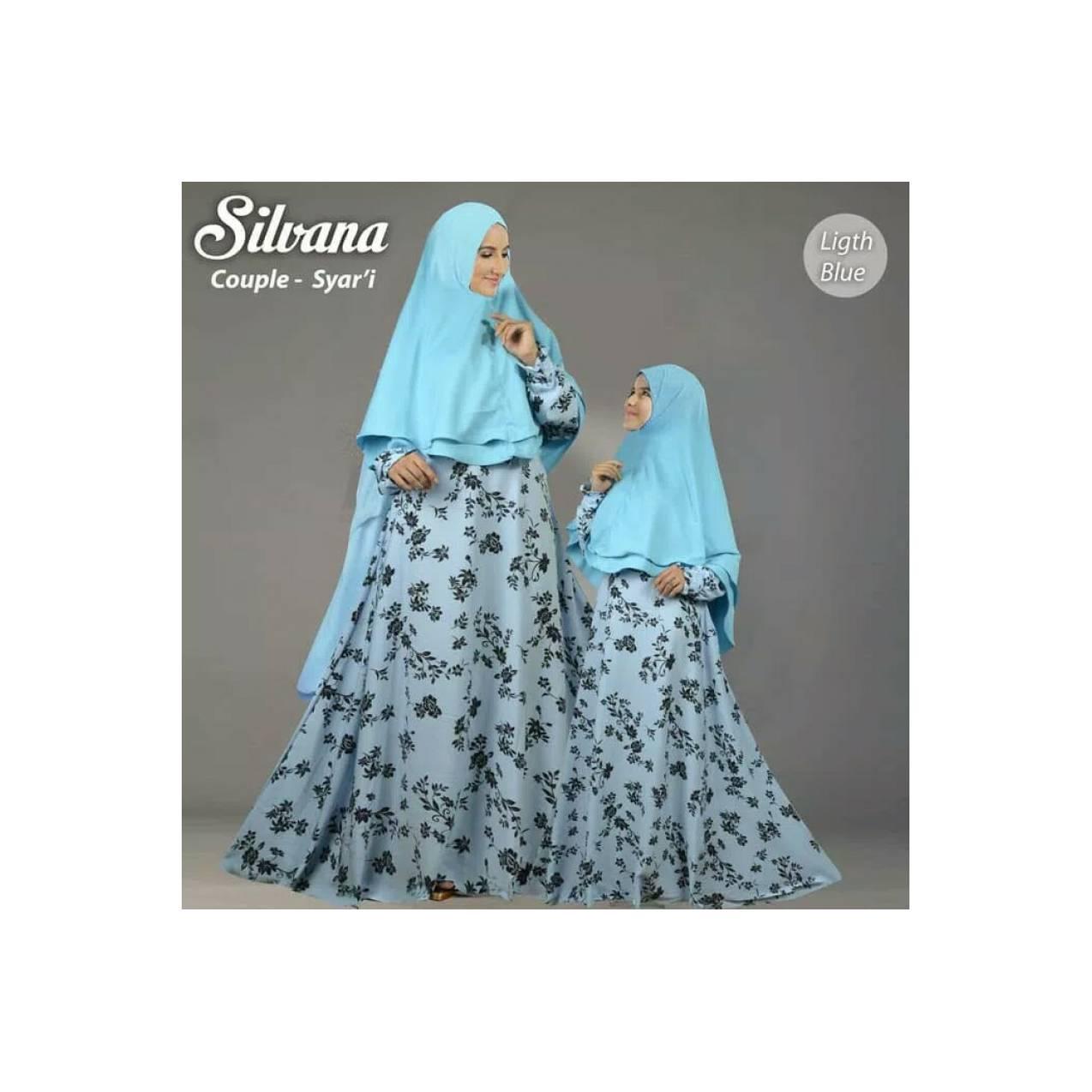 gamis syari couple sillvana blue murah / baju setelan ibu anak muslim