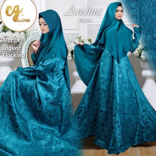 (TERBARU) ANDINA GLITTER SYARI muslimah dress lebaran gamis mewah jaguar flocking (Hitam)