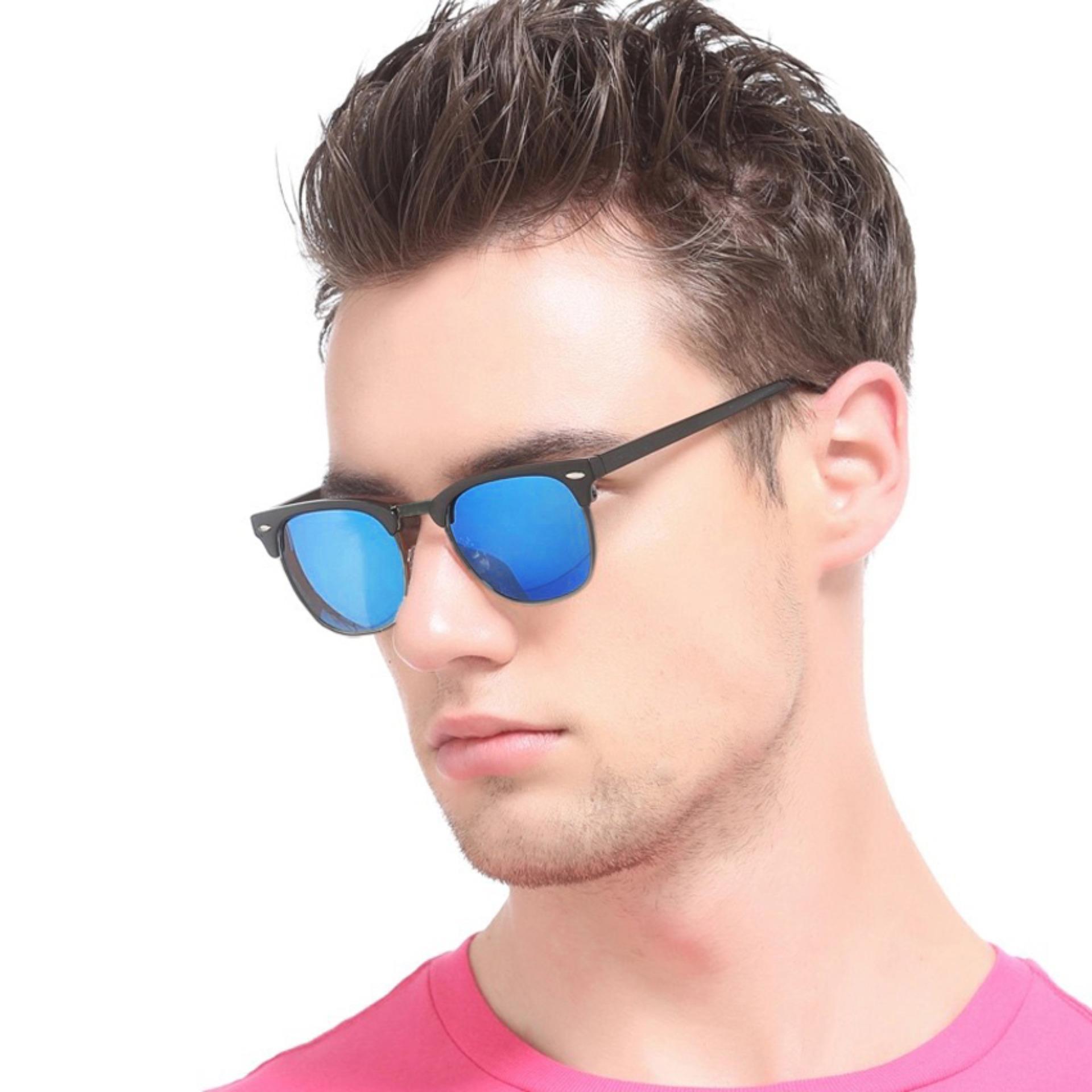 Unisex Retro Club Master Sunglasses - HLL 254 Blue Mirror