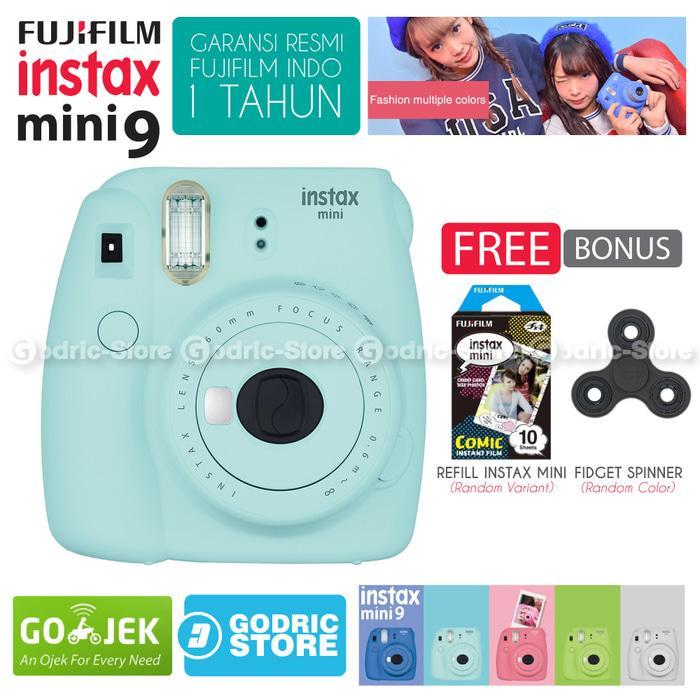 Fujifilm Instax Mini 9 Kamera Polaroid Instant Ice Blue Free Film