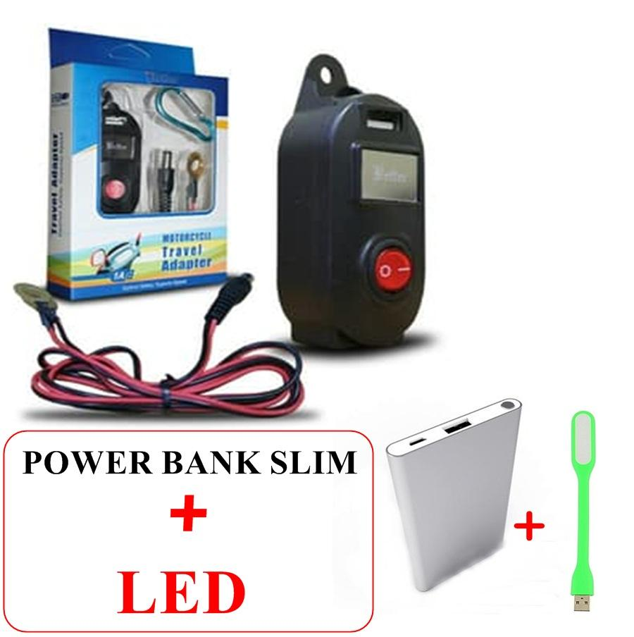 USB Charger Motor Waterproof- Cas HP di motor bonus powerbank slim premium+LED/Lampu malam