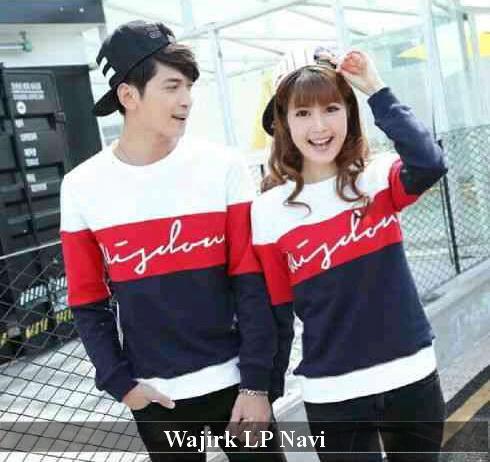 LenganPanjang Kaos Couple Lengan Panjang Keren Baju Pasangan Simple Wajirk Navy