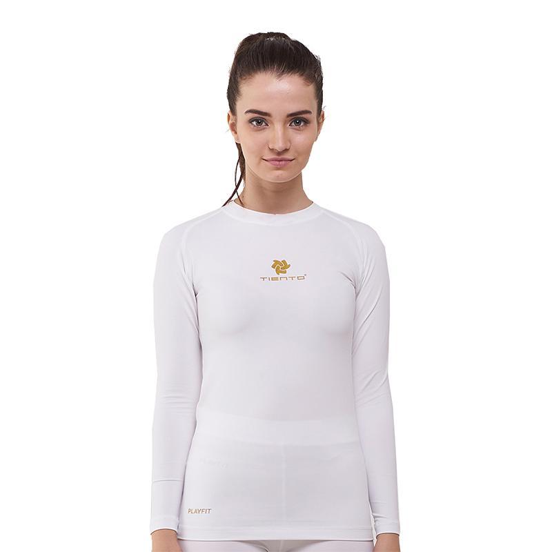 Tiento Baselayer Manset Rashguard Compression Long Sleeve White Baju Kaos Ketat Olahraga Bola Renang Running Gym Fitness Yoga Original
