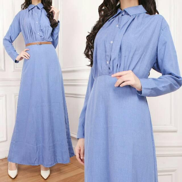 Damai fashion - Maxi Monel denim tanpa belt - konveksi tanah abang