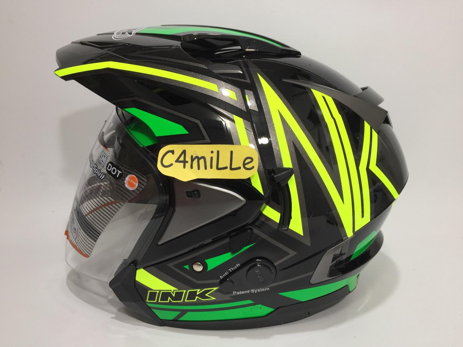 HELM INK T MAX / TMAX #1 BLACK YELLOW FLUO GREEN DOUBLE VISOR HALF FACE SIZE L