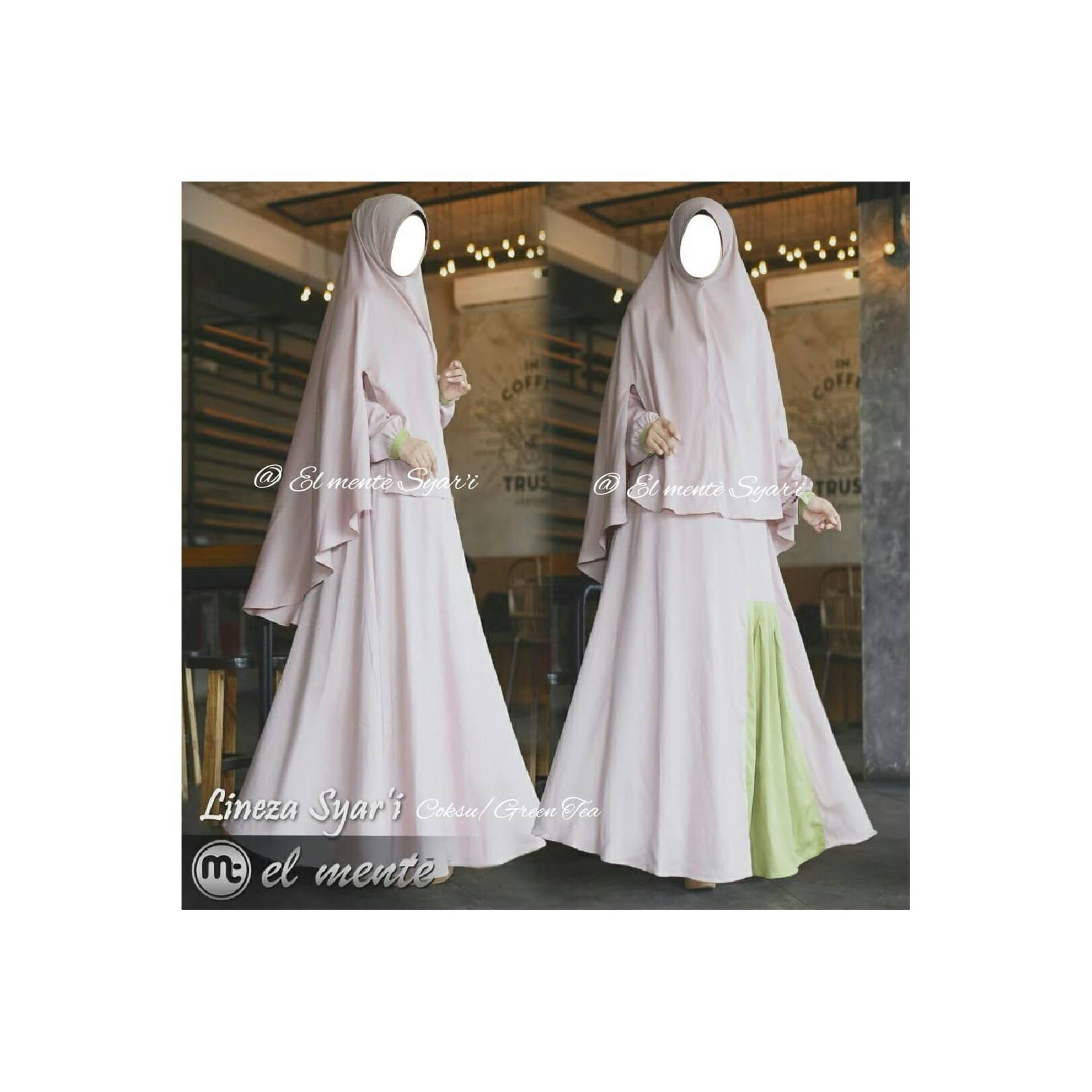 Gamis Set Lineza Syari By Elmente Coksu Green Tea