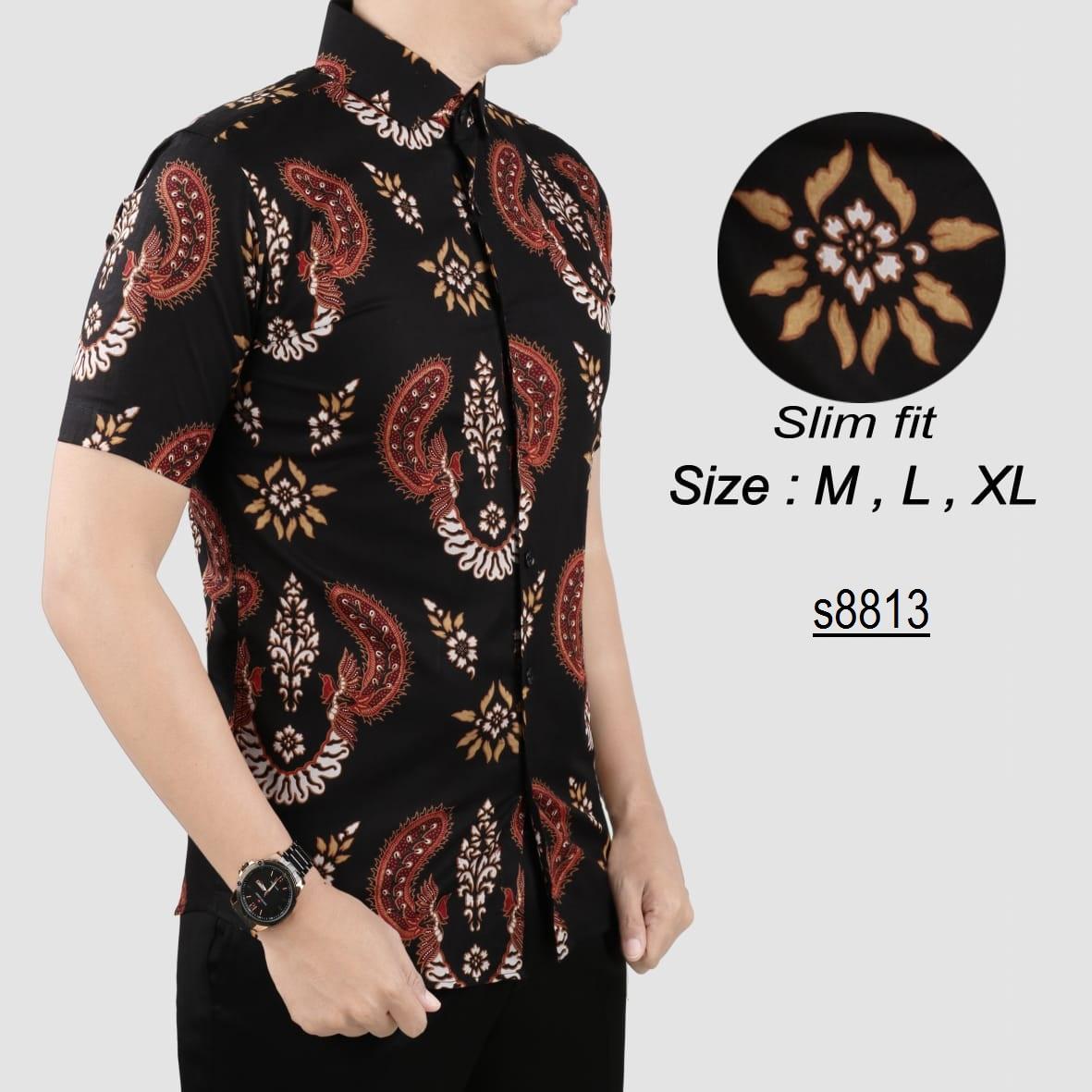 her+man Batik Pria Modern Kemeja Batik Pria Slim fit F1N05