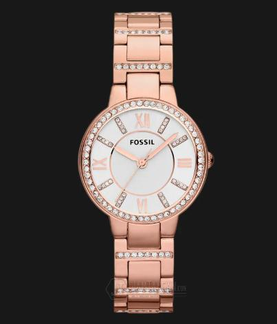 Fossil ES3284 Virginia Silver Dial Rose Gold Stainless Steel Bracelet Watch