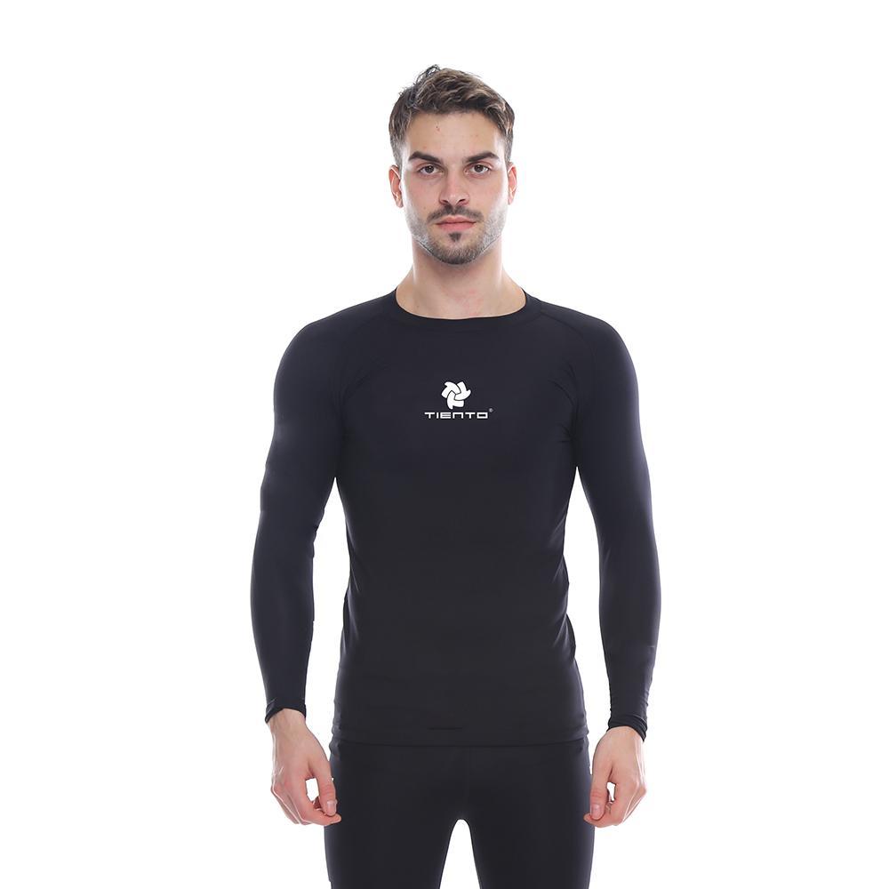 Tiento Baselayer Long Sleeve Black White Baju Kaos Lengan Panjang Ketat Manset Rashguard Compression Base Layer Olahraga Lari Sepak Bola Futsal Voli Running Renang Diving Sepeda Golf Original