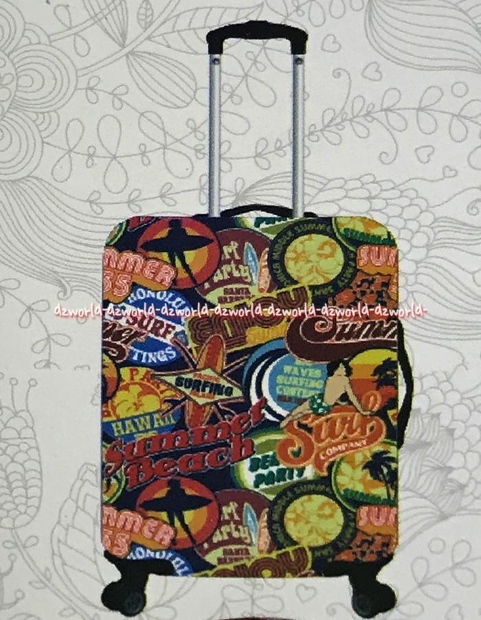 ASLI!!! Passport Luggage Cover Sarung Koper Motif Hawaii Size M Uk 22-26 Inch - EZGADD