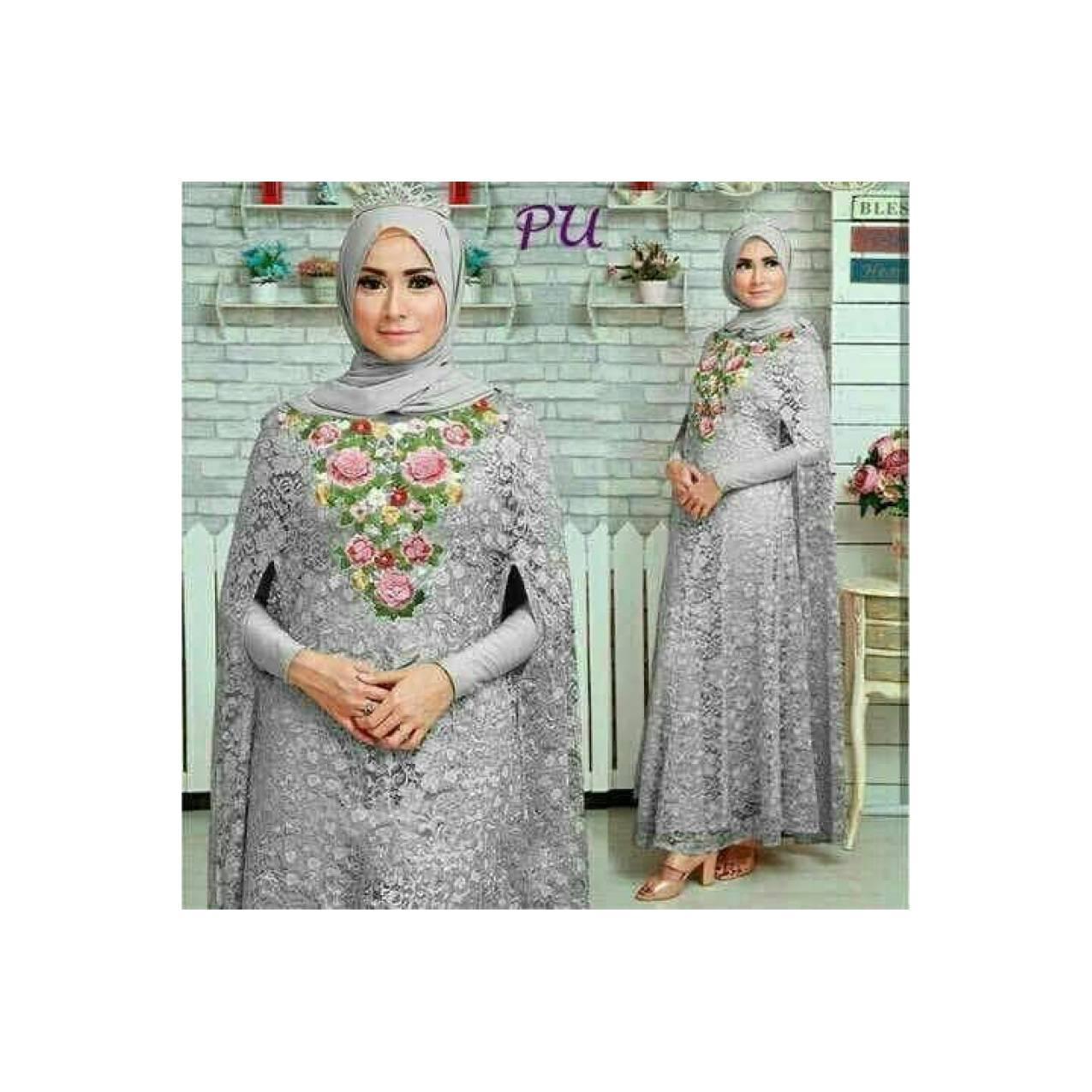 baju muslim wanita baju pesta gamis brukat abu abu mewah