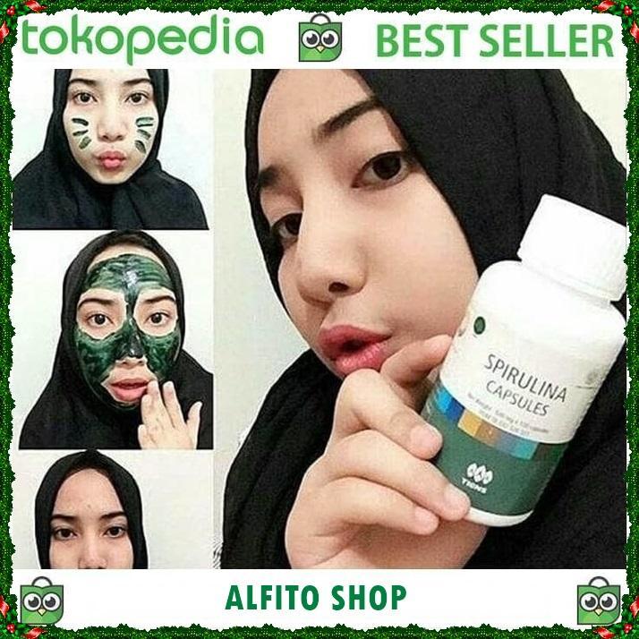 Tiens Spirulina  Masker Pemutih Wajah Alami no 1 di LAZADA PROMO Gratis Kuas Cantik Paket 10 capsul
