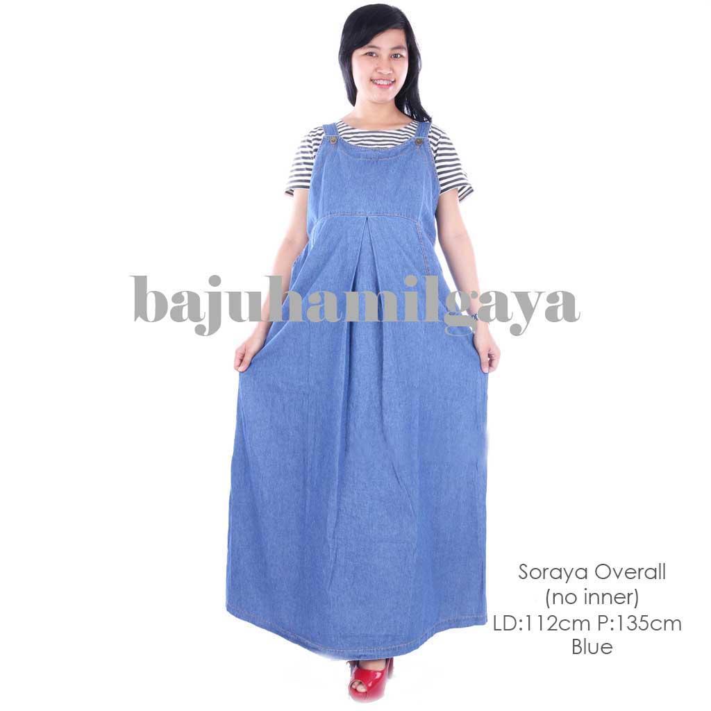 Baju Hamil Gaya - SORAYA OVERALL BLUE (no inner) - Overall Hamil / Baju Hamil / Baju Ibu Hamil / Baju Wanita Harga Murah / Dress Hamil / Baju Cewek Kekinian / Baju Hamil Kerja / Daster Hamil / Baju Hamil Murah / Dress Hamil Murah