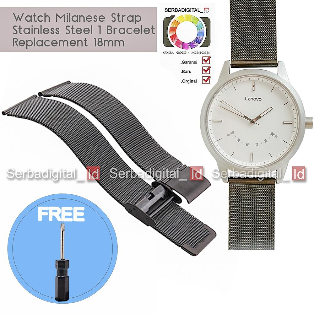 LENOVO Watch Milanese Strap Stainless Steel 1 Bracelet Replacemen 18mm - Hitam
