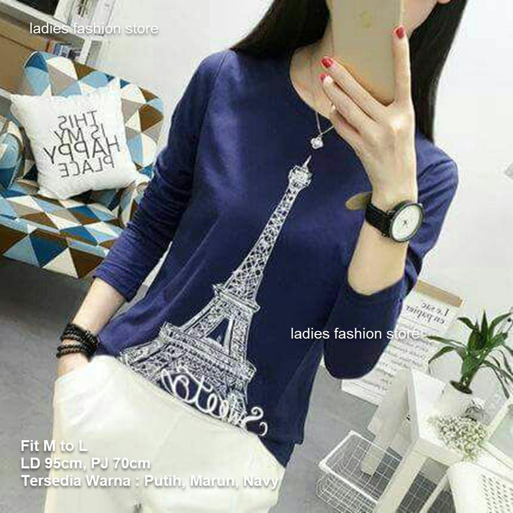Sweater Baju Lengan Panjang Wanita / Atasan Wanita Panjang / Kaos Simple / Gambar Paris / Sweater Murah / Tshirt Wanita / Top Woman / Long Sleeve / Sweater ...