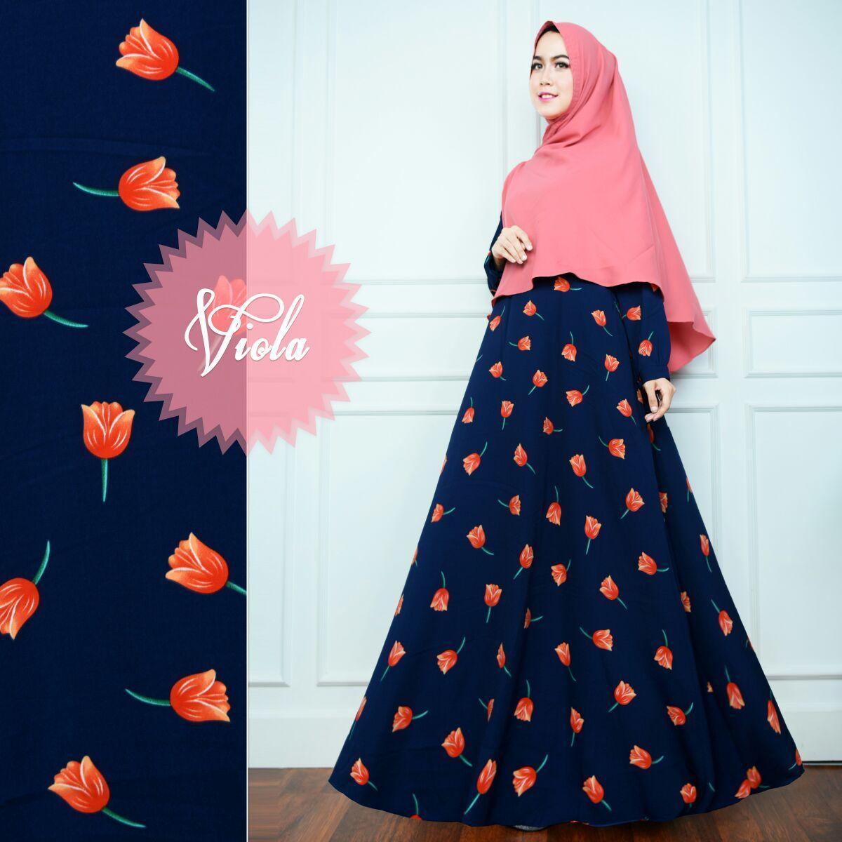 Anggun Gamis – Fashion Wanita - Gamis Muslimah – Gamis Murah – Gamis Kekinian – Satu Set Kerudung - Bahan Monalisa – Viola