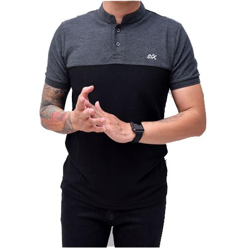 Ormano Baju Kaos BRON Polo Shirt Pria Cowo Kerah Shanghai Koko M L XL Slim Fit Casual Fashion Design - Hitam Abu