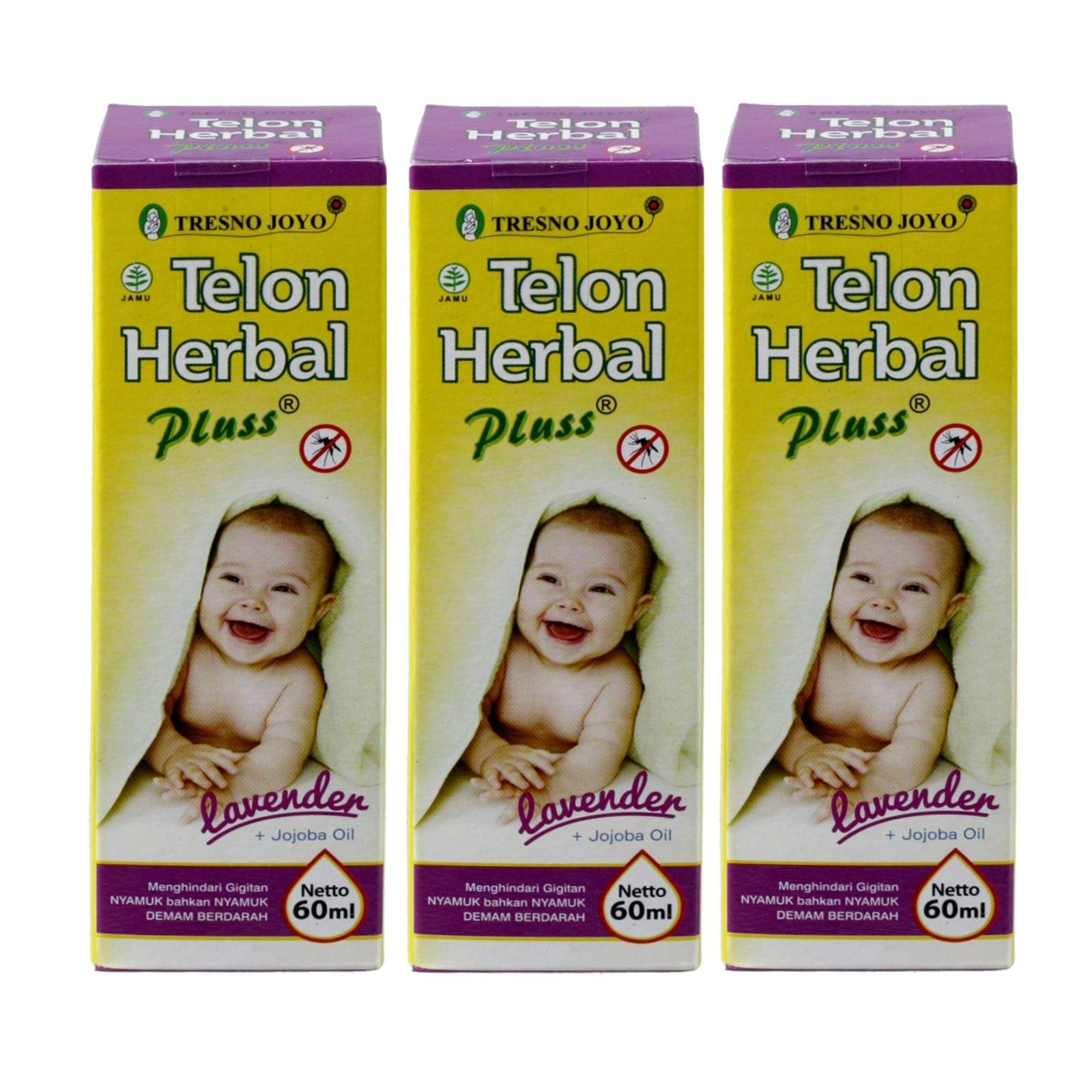 Tresno Joyo Minyak Telon Herbal Pluss Jojoba Oil -Lavender Anti Nyamuk 60ml (isi 3 botol)