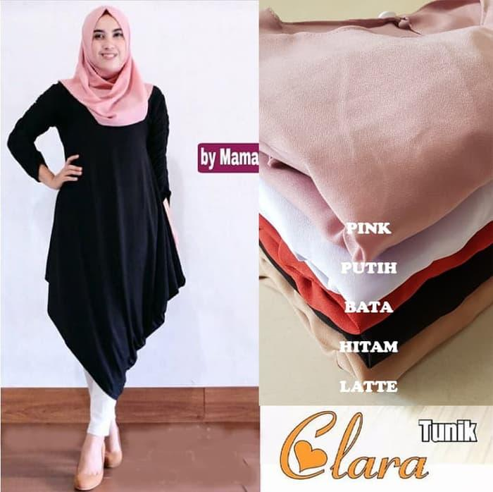 Baju Atasan Wanita Clara Tunik Blouse Baju Muslim Blus Muslim - Hitam./ baju muslim wanita./ barangnya lumayan bagus ./ harganya murah ./ dan berkualitas