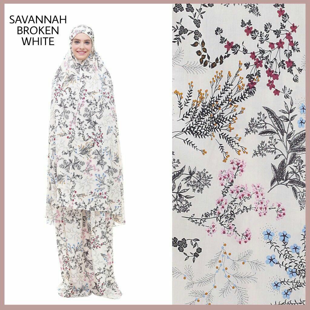 SAVANNAH BROKEN WHITE Mukena Katun Jepang / Mukena Batik / Mukena Shabby Chic Murah / Mukena