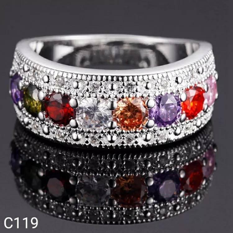NEW Promo Perhiasan Cincin Perak Silver 925 Lapis Emas Batu Cubic Zirconia Colorful C119 Murah