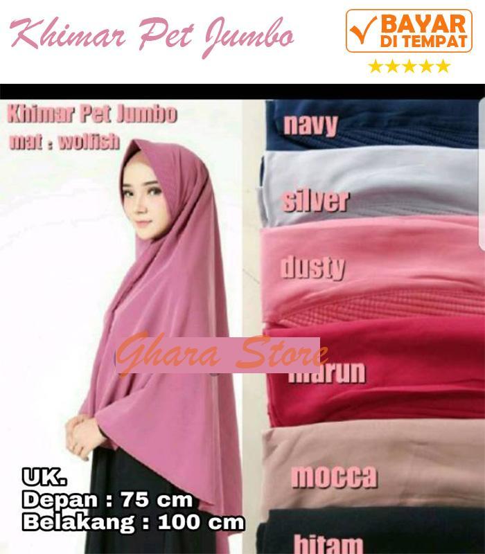 Hijab Jilbab Khimar Instan Pet Jumbo Syari Premium