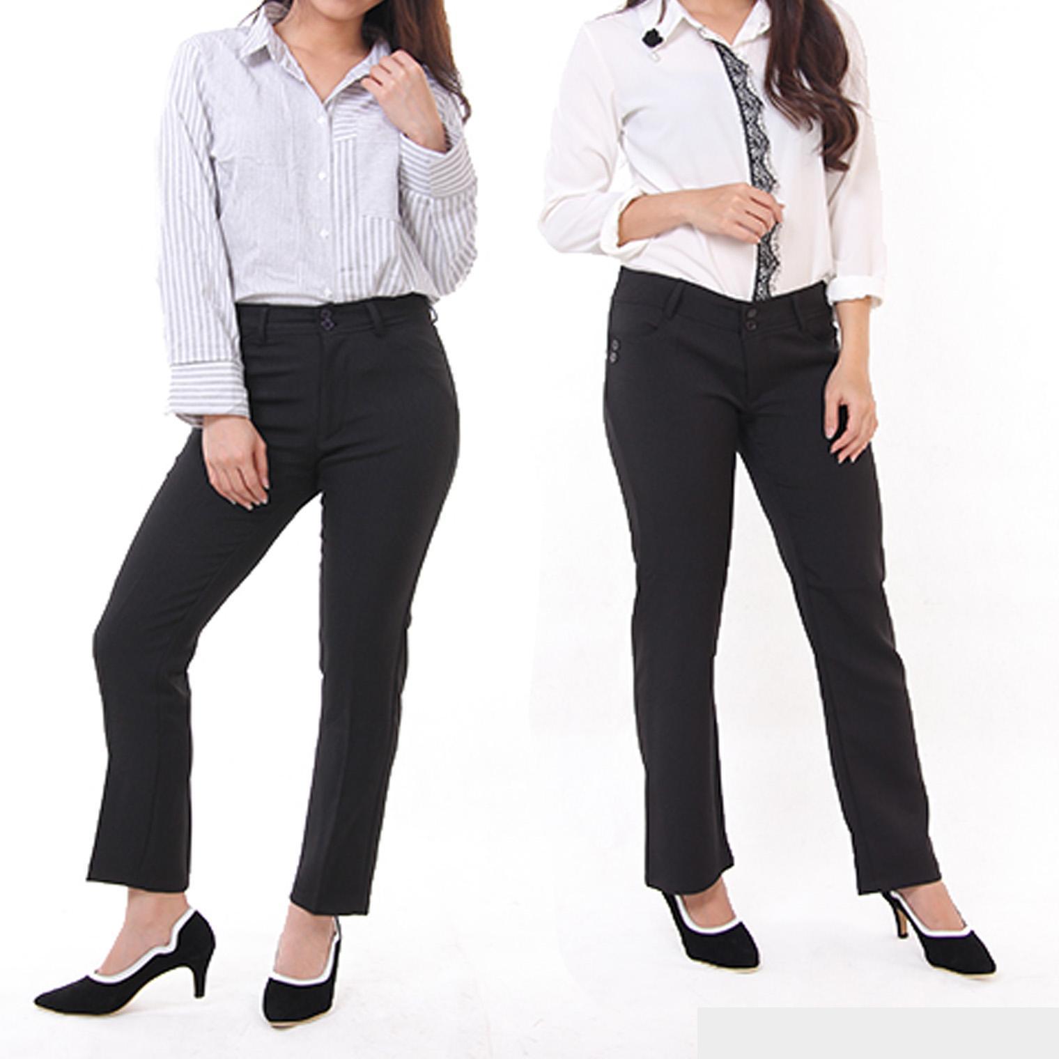 Celana Kerja Kantor Wanita Slim Fit Lurus Hitam Abu Abu dan Biru Dongker