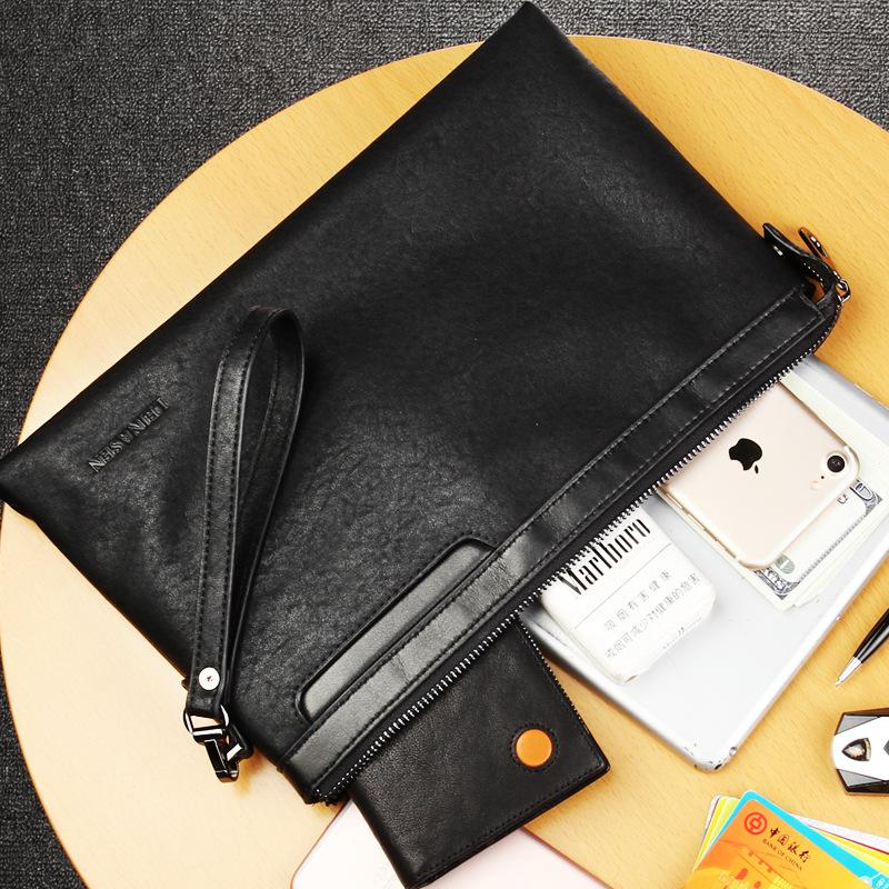 Pria Retro Sapi Kulit Dompet Bisnis Leisure Envelope Bag Clutch Casual Handbag Wristlet Wrist Bag Free