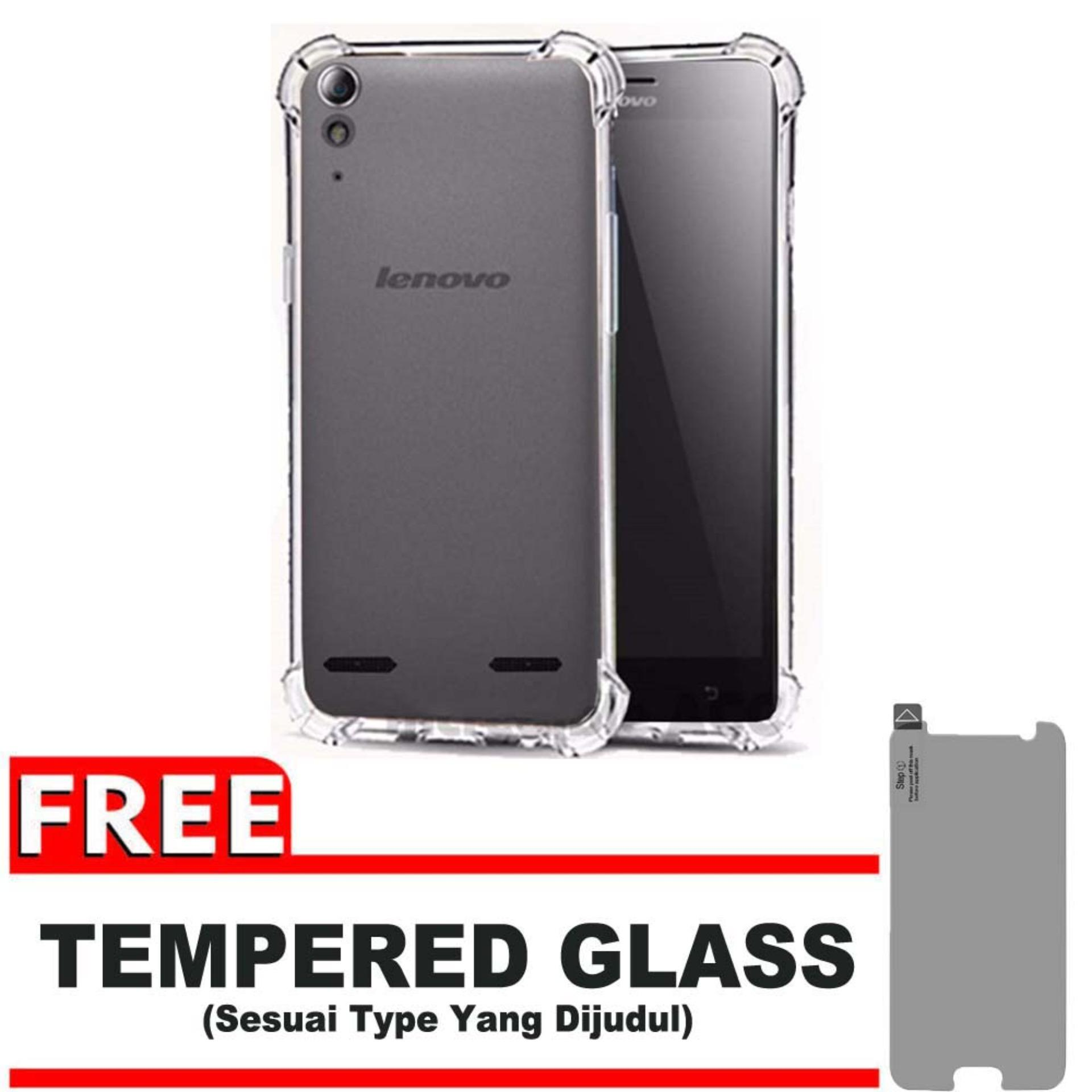 ShockCase for Lenovo A6000 / A6010 + Plus / K3 | Premium Softcase Jelly Anti Crack Shockproof + Gratis Free Tempered Glass Protector - Transparan