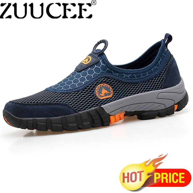 Zuucee Pria Kasual Luar Ruangan Daki Gunung Sepatu Pria Ukuran Besar Sepatu Jaring Bernapas Kain Sepatu Menginjakkan Kaki Sepatu (Biru) -Internasional