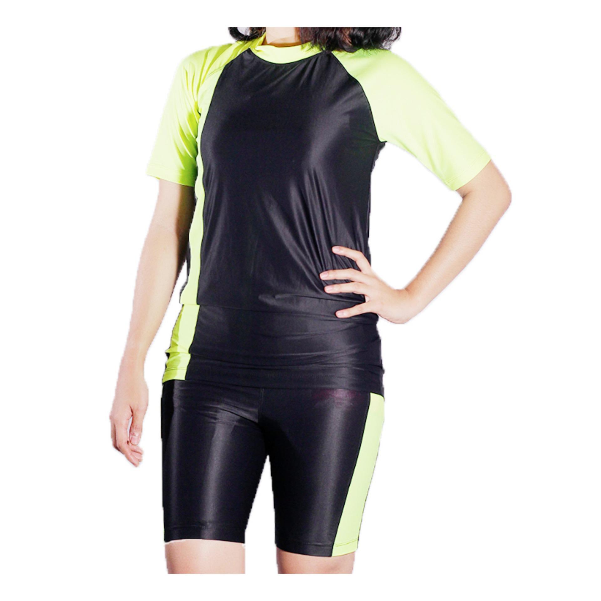 Mall BTM Fashion - Diana Baju Renang Atasan Dan Bawahan Pendek Kombinasi Warna Harga Murah - Hitam