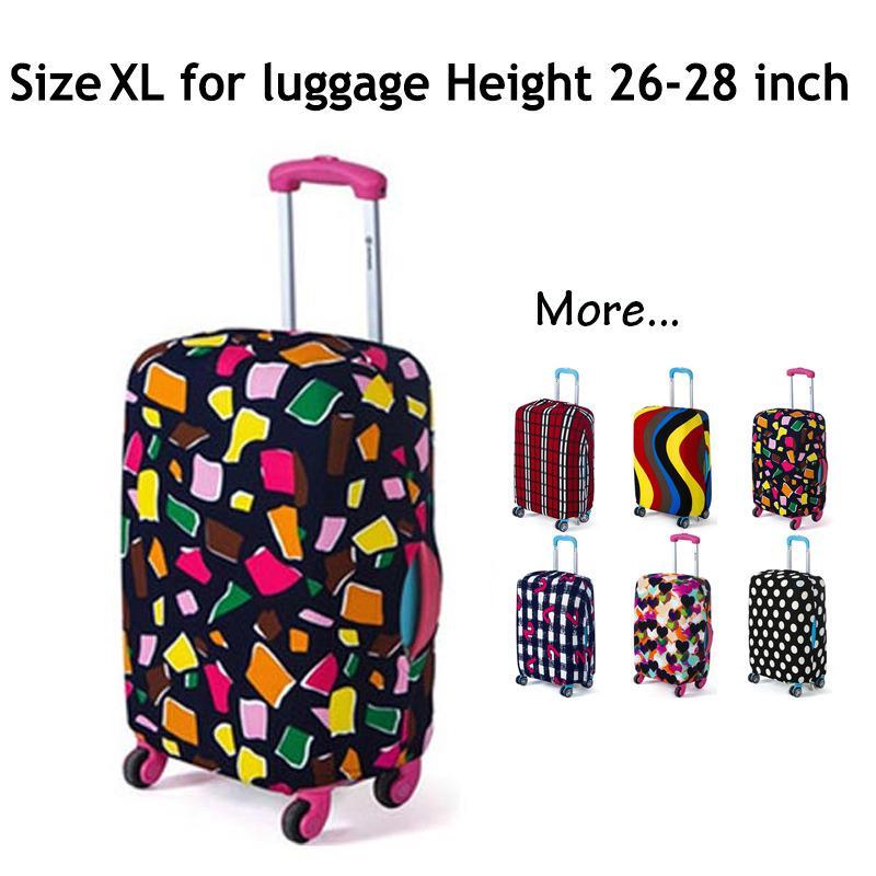 Koper Cover, Fabric Stretchable Tahan lama Luggage Cover Pelindung Dustproof untuk 26-28 inci Koper, Aksesoris Perjalanan(gaya: POLYGON-XL)-Intl