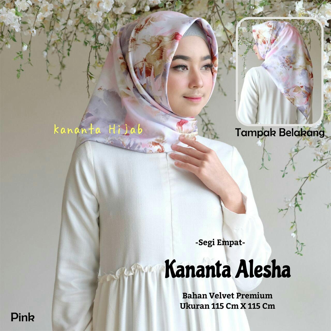 Hijab Segi Empat Motif Bunga Bahan Velvet Premium Kananta ALESHA